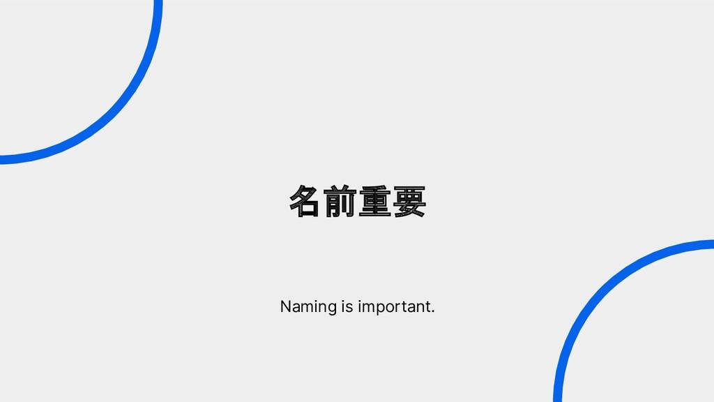 名前重要 Naming is important.