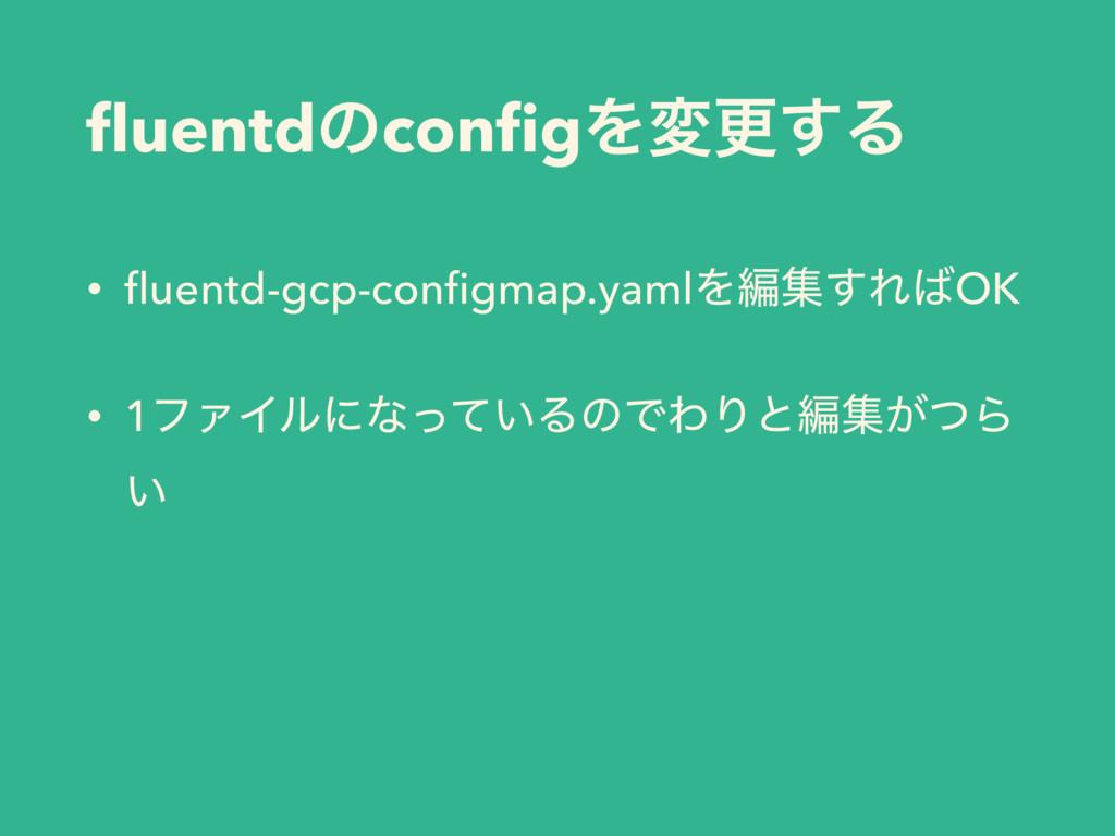 fluentdͷconfigΛมߋ͢Δ • fluentd-gcp-configmap.yamlΛฤू...