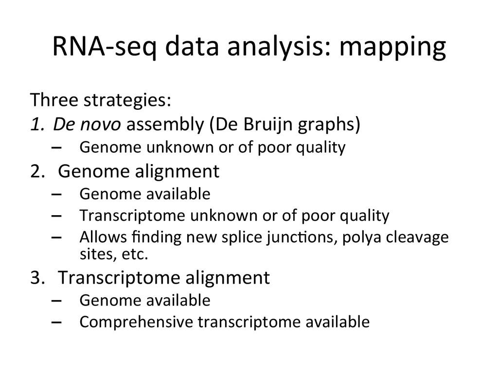 RNA-‐seq data analysis: mapping  T...