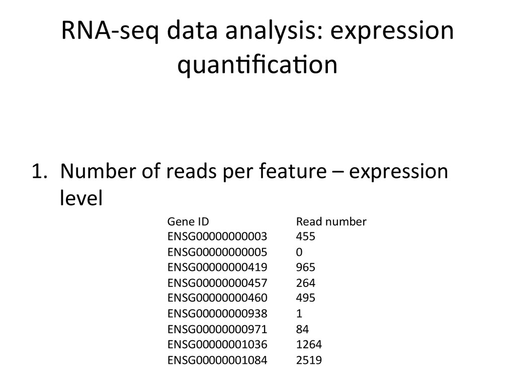 RNA-‐seq data analysis: expression ...