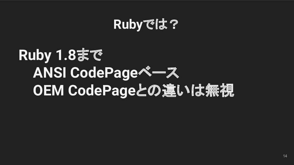 14 Ruby 1.8まで ANSI CodePageベース OEM CodePageとの違い...