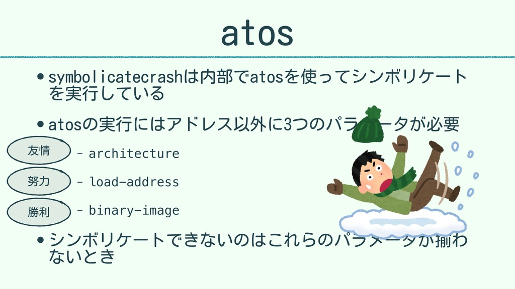 atos • symbolicatecrashは内部でatosを使ってシンボリケート を実行し...