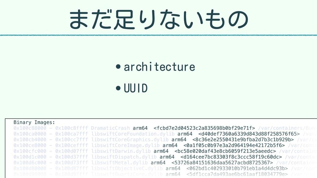 まだ足りないもの • architecture • UUID Binary Images: 0...