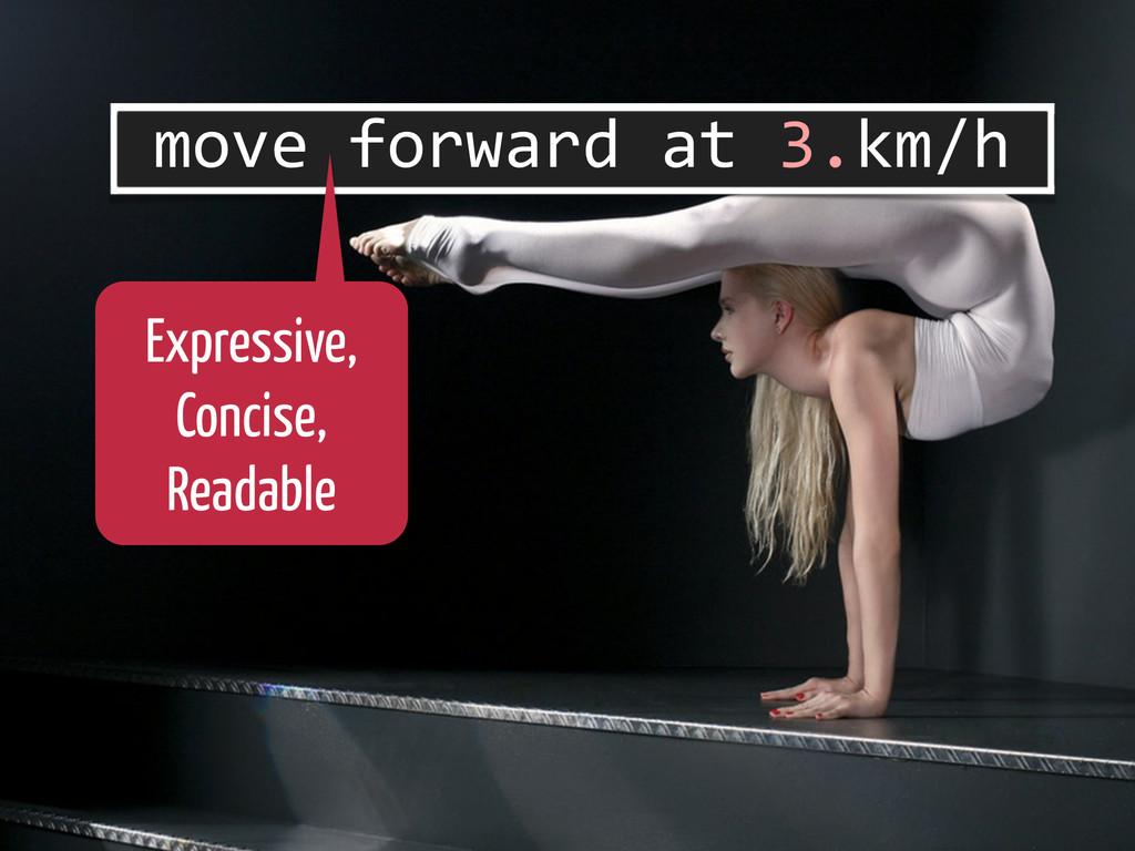 move forward at 3.km/h Expressive, Con...