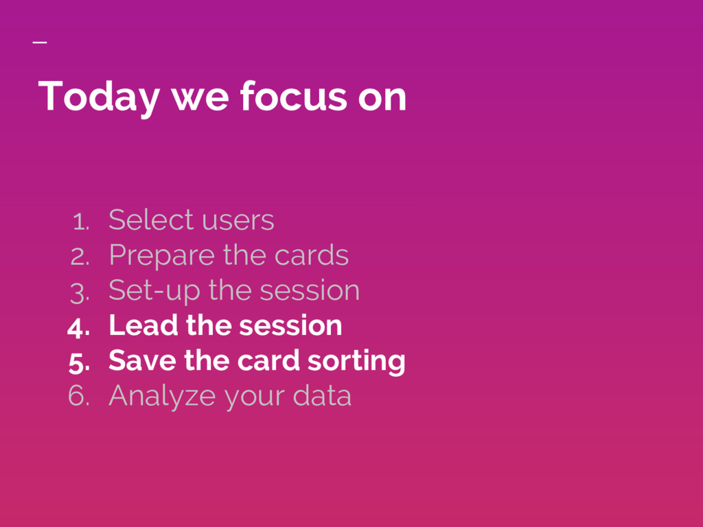 Today we focus on 1. Select users 2. Prepare th...
