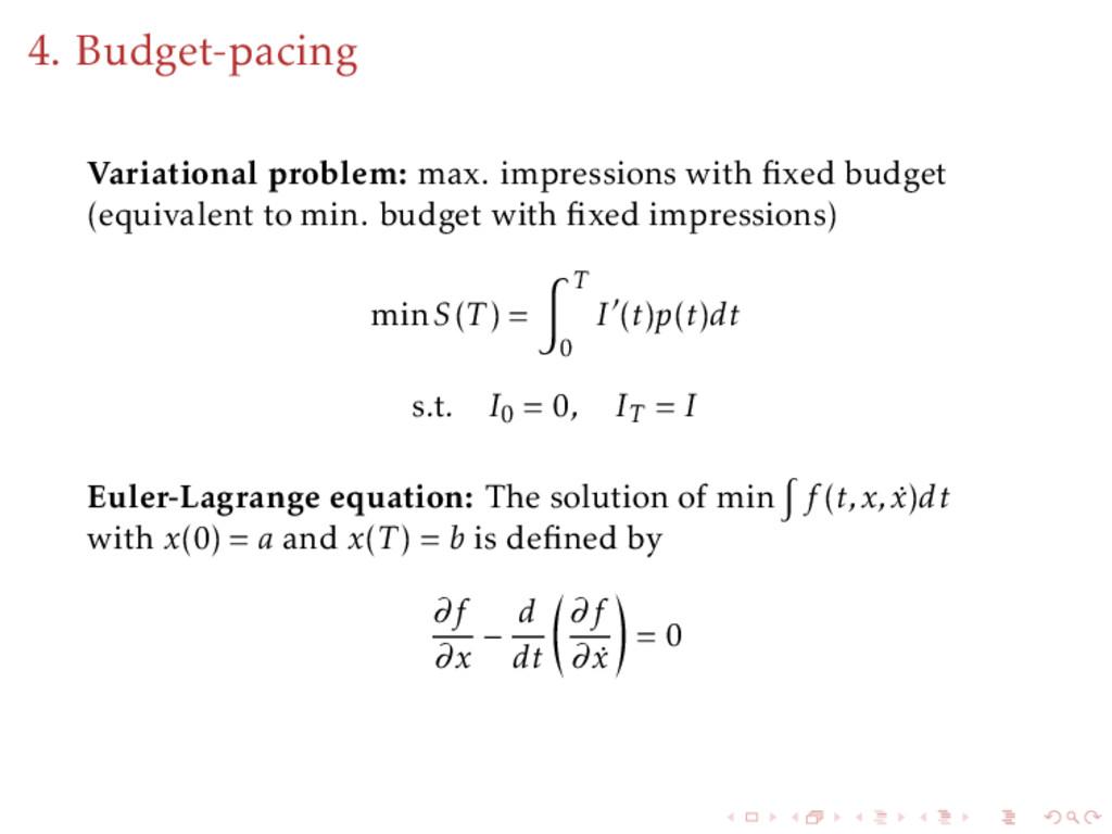 4. Budget-pacing Variational problem: max. impr...