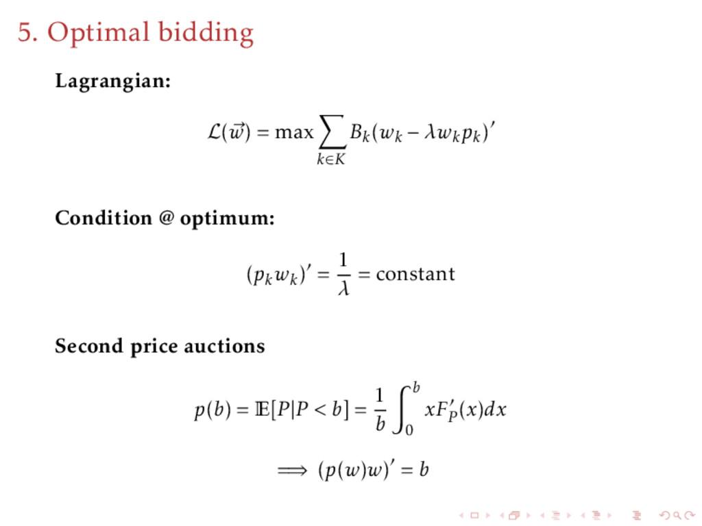 5. Optimal bidding Lagrangian: L(w) = max k∈K B...