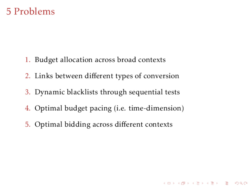 5 Problems 1. Budget allocation across broad co...