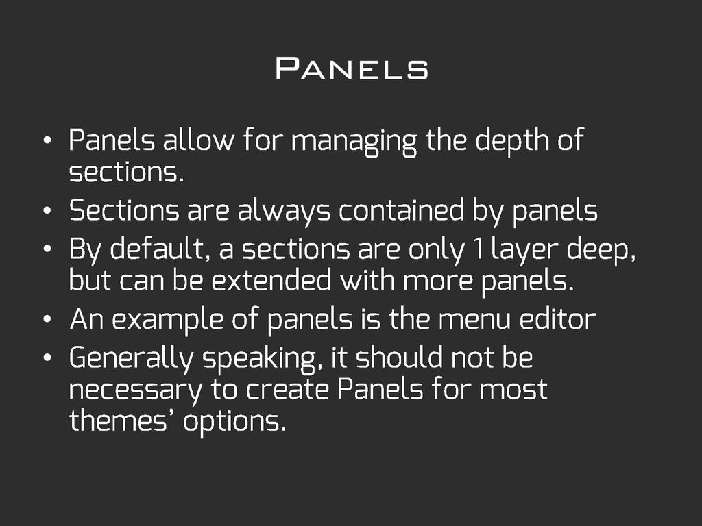 Panels • • • • •