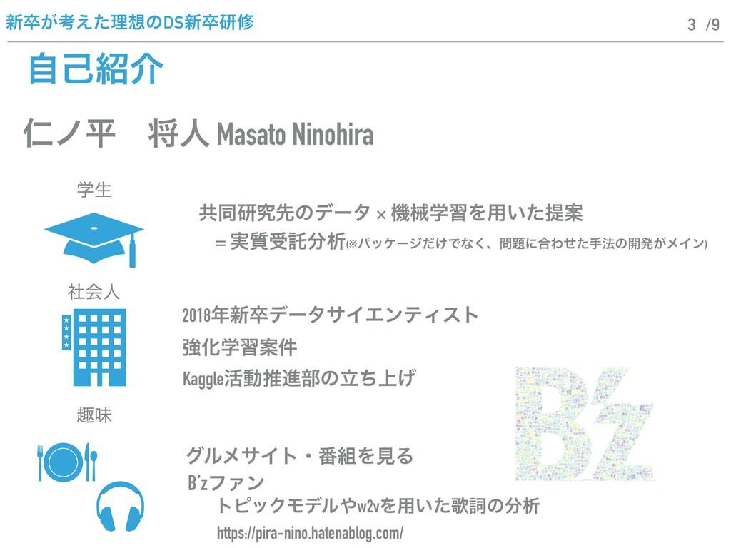 ৽ଔ͕ߟ͑ͨཧͷDS৽ଔݚम /9 ࣗݾհ 3 ਔϊฏɹকਓ Masato Ninohir...