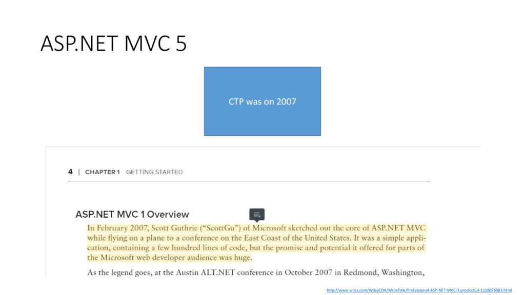 ASP.NET MVC 5 CTP was on 2007 http://www.wrox.c...