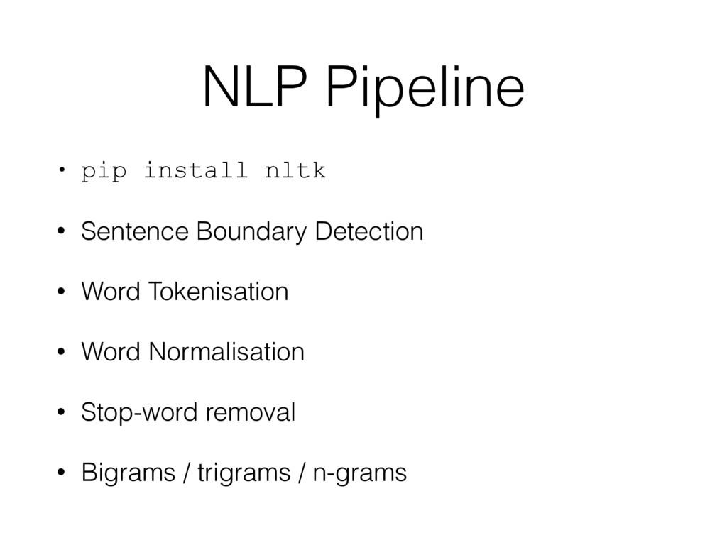 NLP Pipeline • pip install nltk • Sentence Boun...