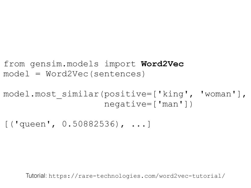 from gensim.models import Word2Vec model = Word...