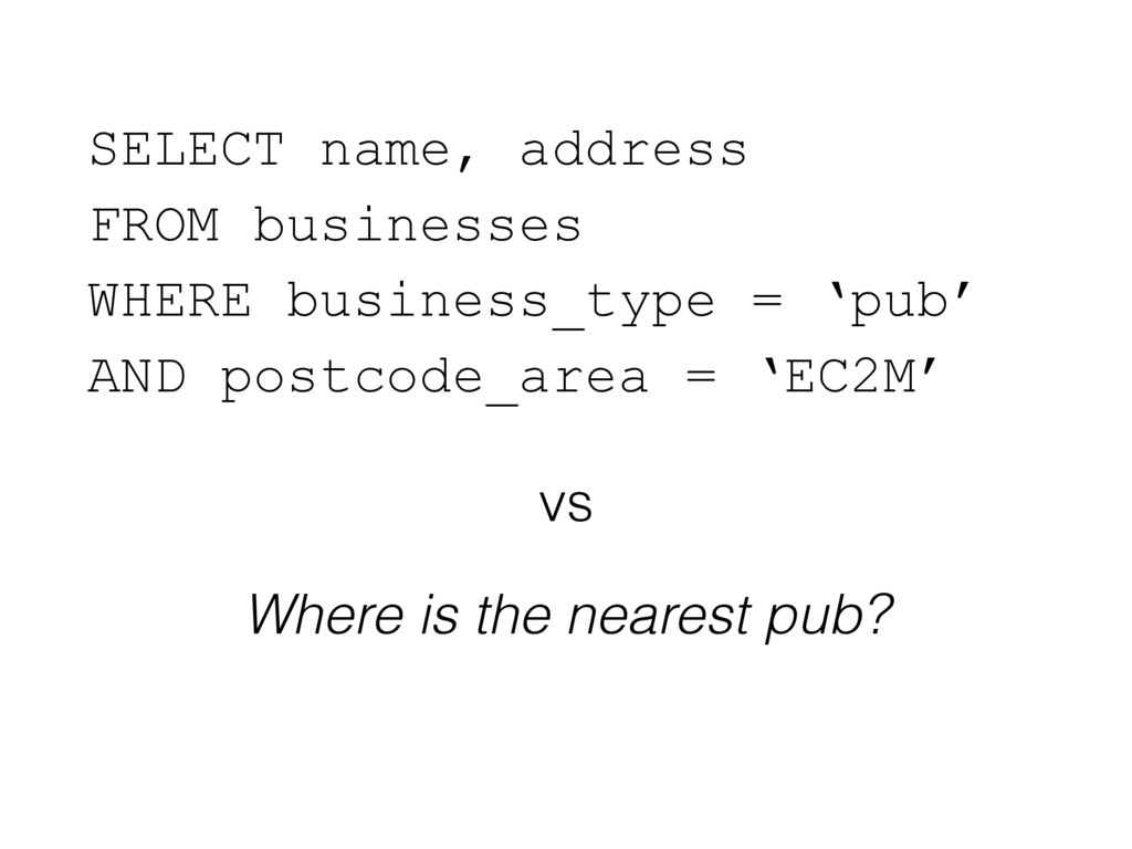 SELECT name, address FROM businesses WHERE bu...