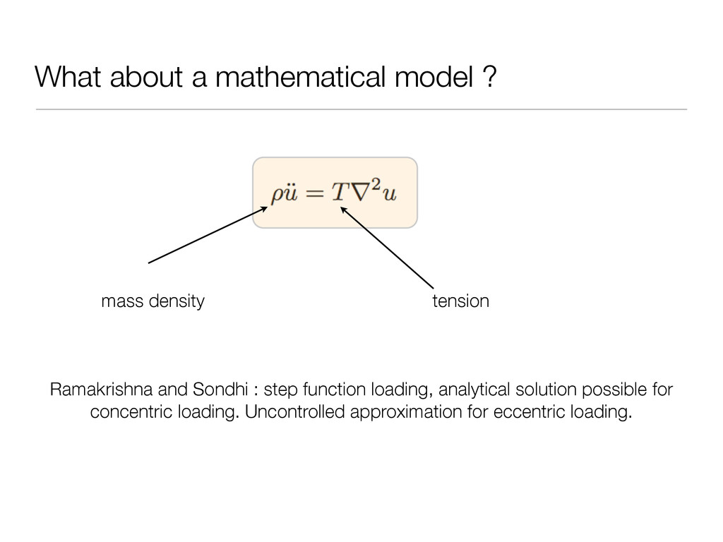 What about a mathematical model ? mass density ...