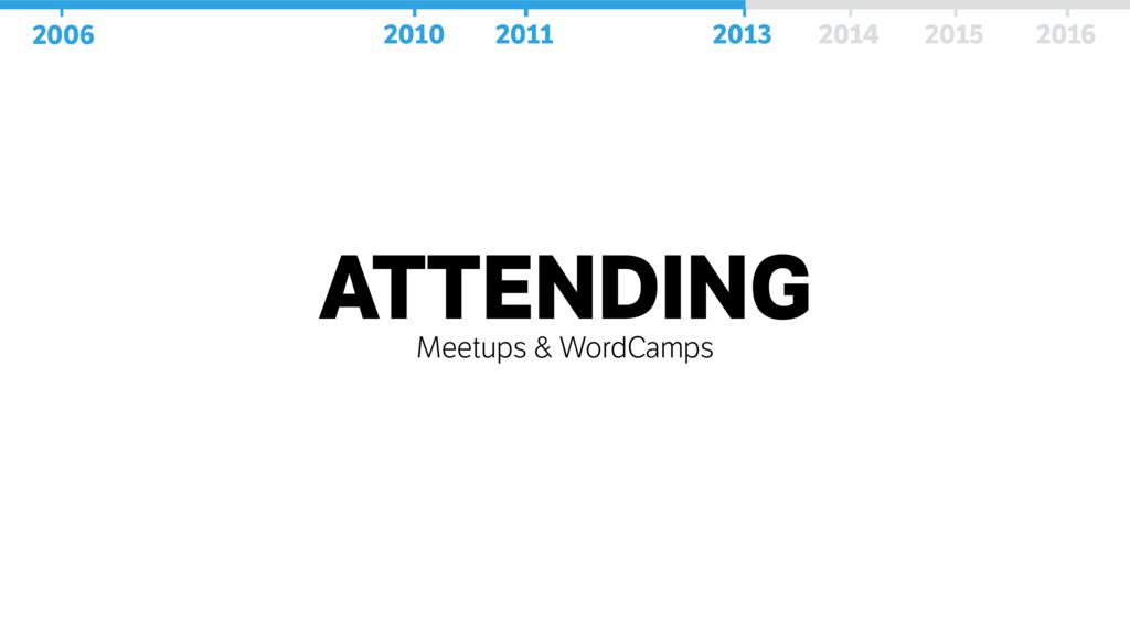 ATTENDING Meetups & WordCamps 2006 2010 2011 20...