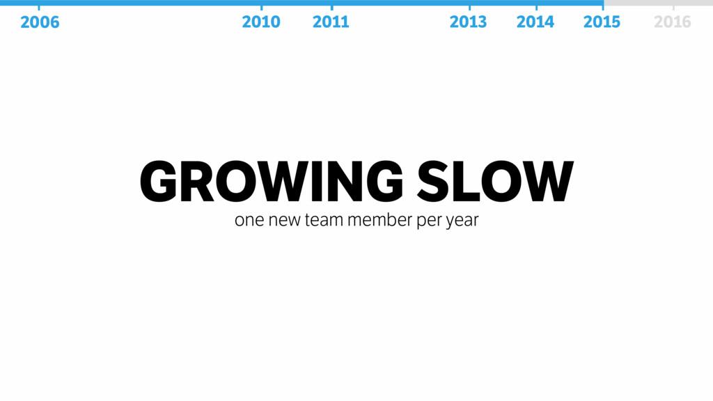 GROWING SLOW one new team member per year 2006 ...