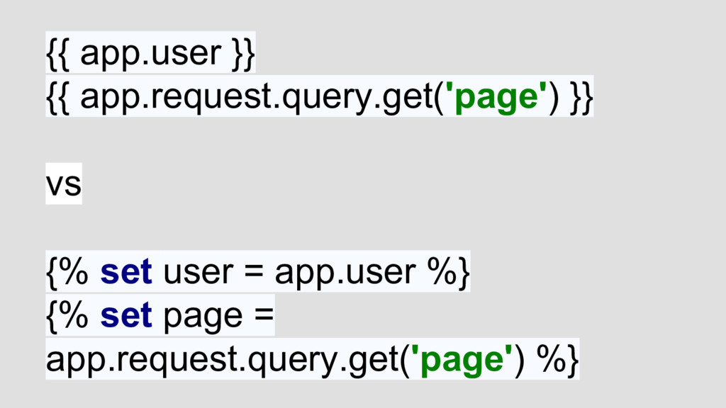 {{ app.user }} {{ app.request.query.get('page')...