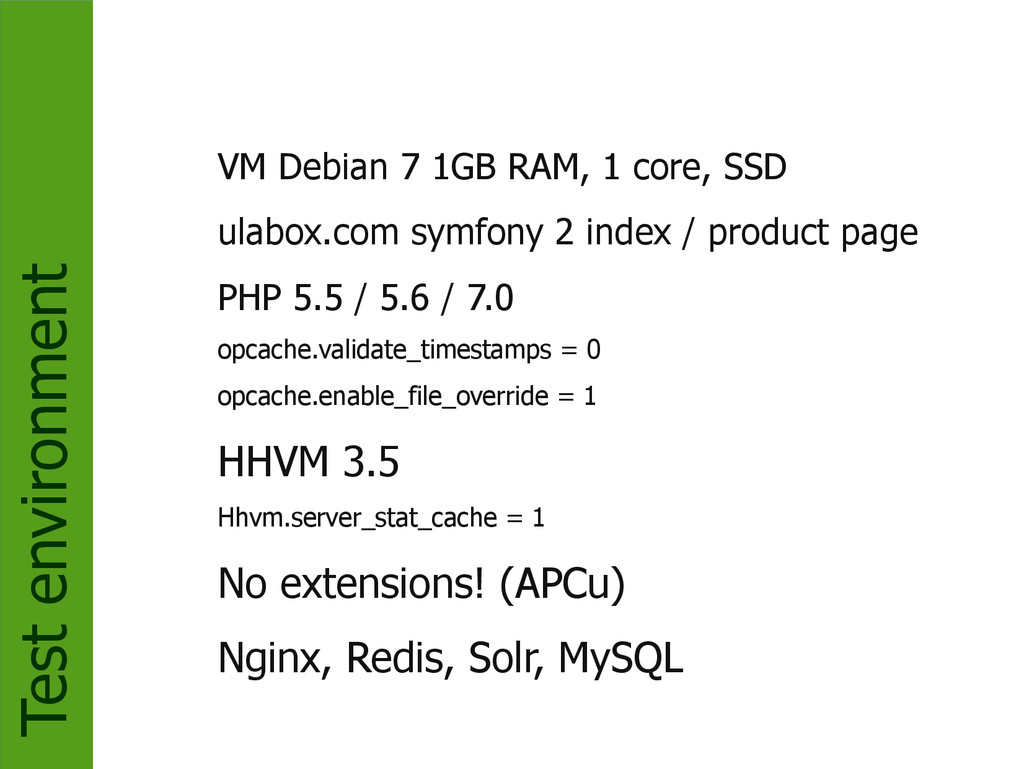 Test environment VM Debian 7 1GB RAM, 1 core, S...
