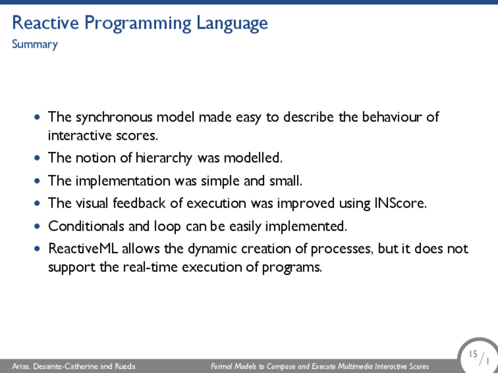 Reactive Programming Language Summary • The syn...
