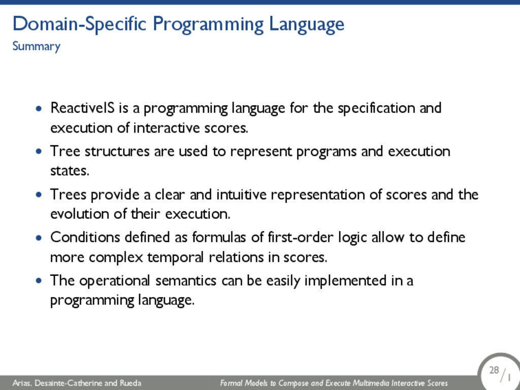 Domain-Specific Programming Language Summary • ...