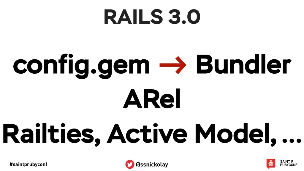 #saintprubyconf @ssnickolay RAILS 3.0 config.gem...