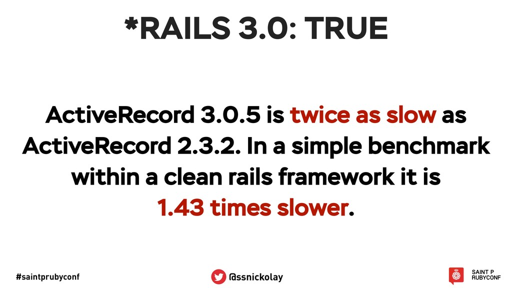 #saintprubyconf @ssnickolay *RAILS 3.0: TRUE Ac...