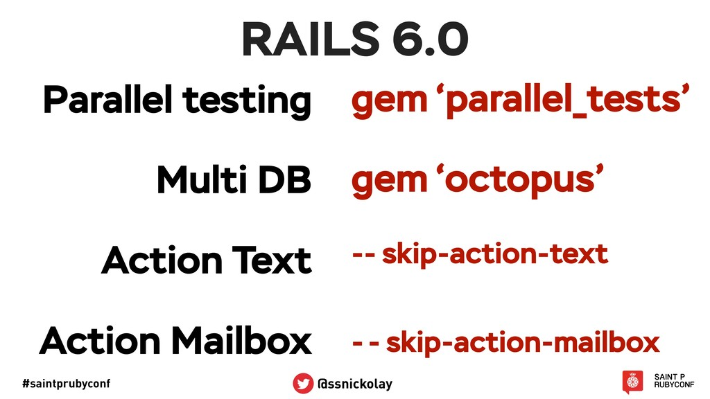 #saintprubyconf @ssnickolay RAILS 6.0 gem 'para...