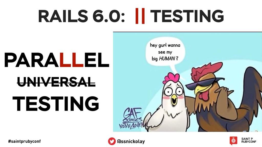 #saintprubyconf @ssnickolay RAILS 6.0: !||TESTI...