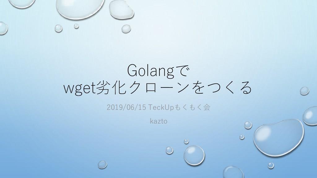 Golangで wget劣化クローンをつくる 2019/06/15 TeckUpもくもく会 k...