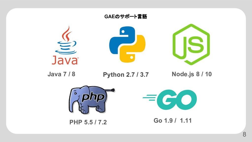 Python 2.7 / 3.7 Java 7 / 8 Node.js 8 / 10 PHP ...