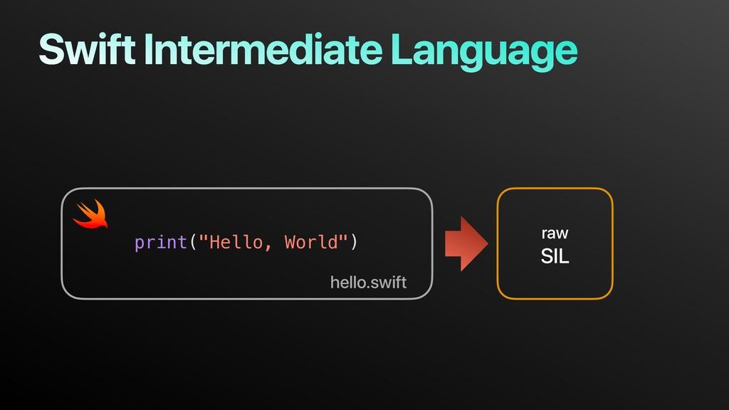"""Swift Intermediate Language raw SIL print(""""Hell..."""
