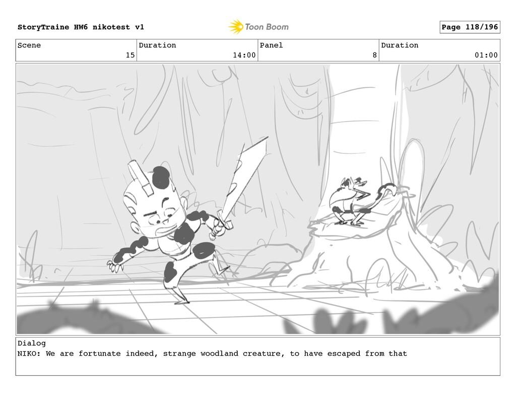 Scene 15 Duration 14:00 Panel 8 Duration 01:00 ...