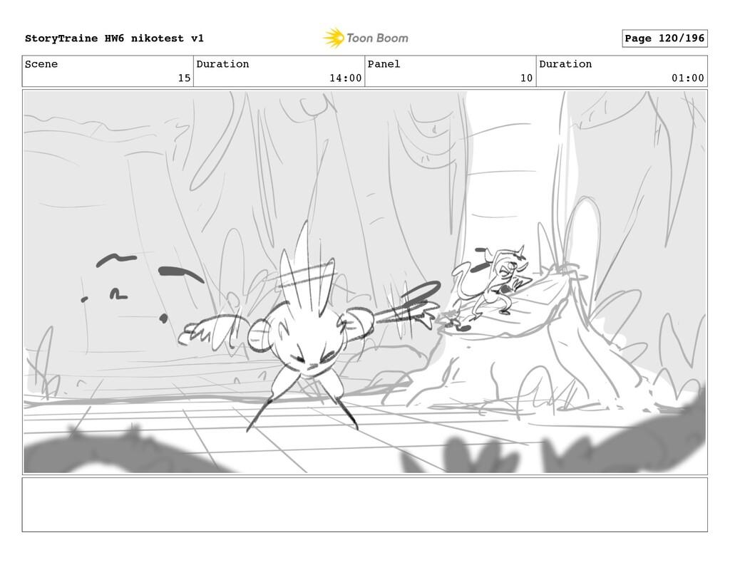 Scene 15 Duration 14:00 Panel 10 Duration 01:00...