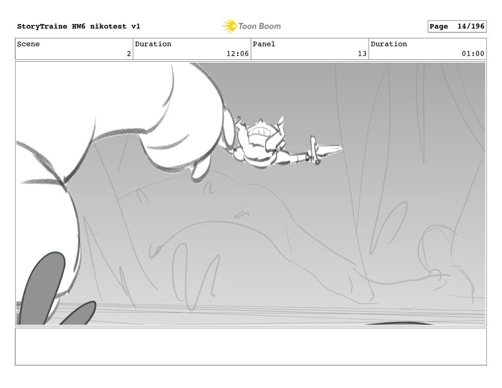 Scene 2 Duration 12:06 Panel 13 Duration 01:00 ...