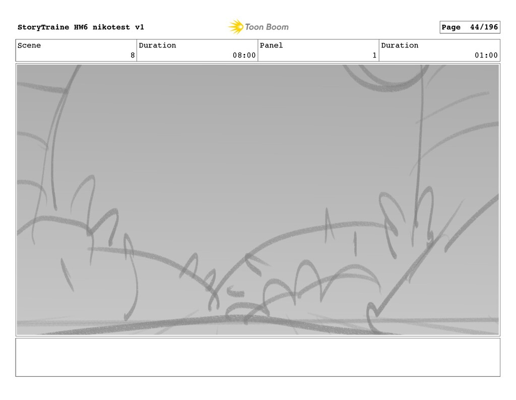 Scene 8 Duration 08:00 Panel 1 Duration 01:00 S...