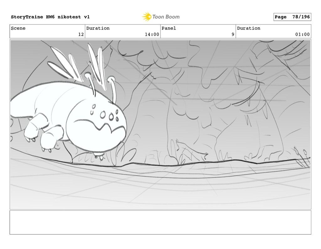 Scene 12 Duration 14:00 Panel 9 Duration 01:00 ...