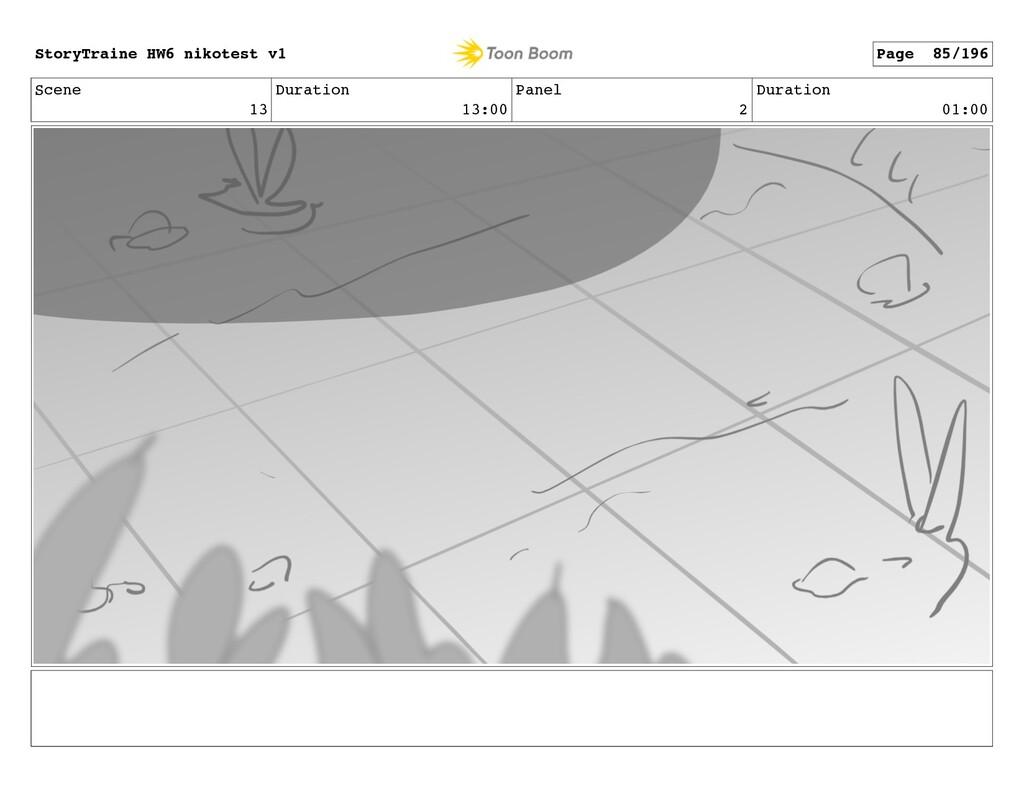 Scene 13 Duration 13:00 Panel 2 Duration 01:00 ...