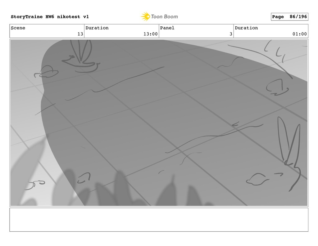 Scene 13 Duration 13:00 Panel 3 Duration 01:00 ...