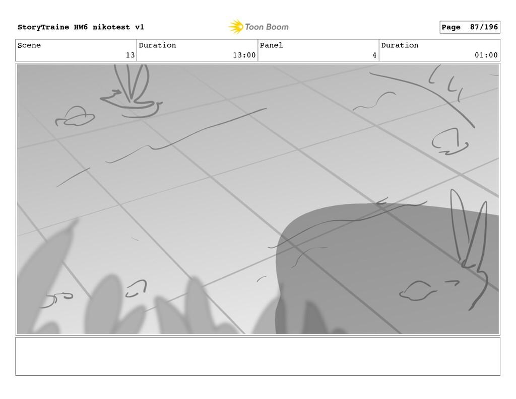 Scene 13 Duration 13:00 Panel 4 Duration 01:00 ...