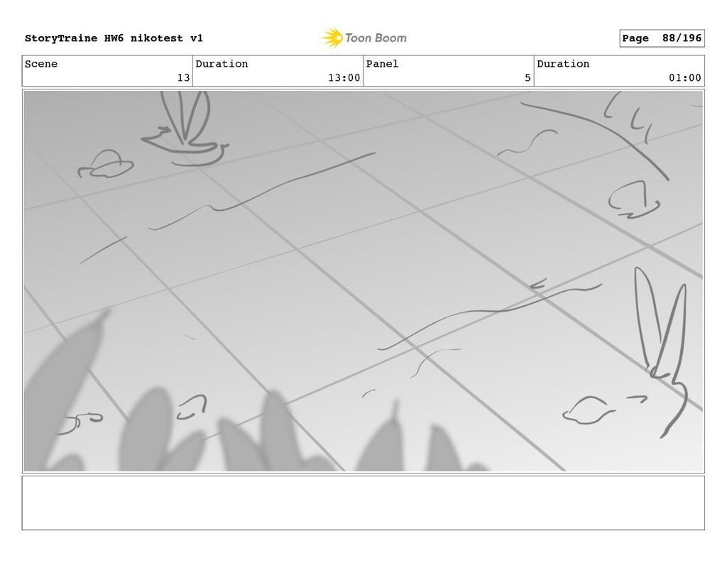 Scene 13 Duration 13:00 Panel 5 Duration 01:00 ...