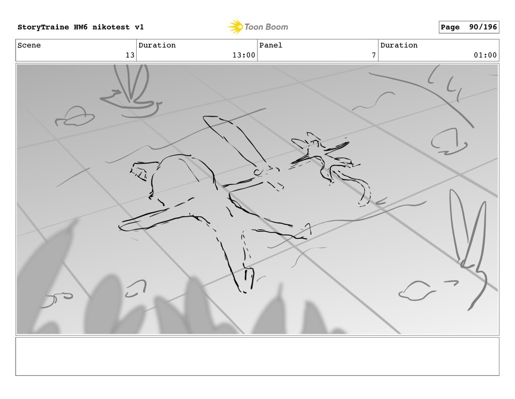 Scene 13 Duration 13:00 Panel 7 Duration 01:00 ...