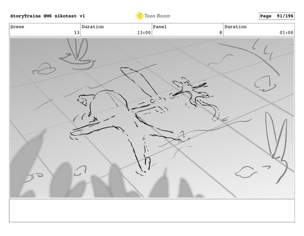 Scene 13 Duration 13:00 Panel 8 Duration 01:00 ...