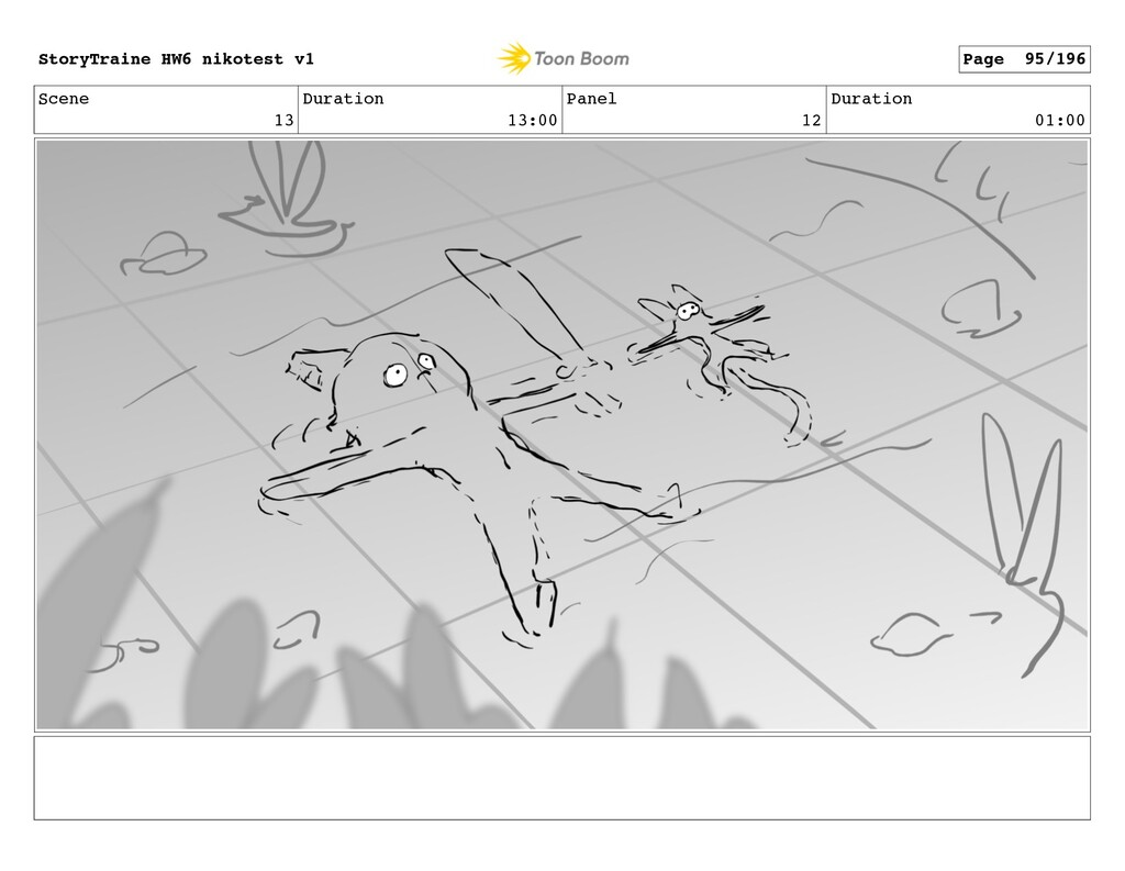 Scene 13 Duration 13:00 Panel 12 Duration 01:00...