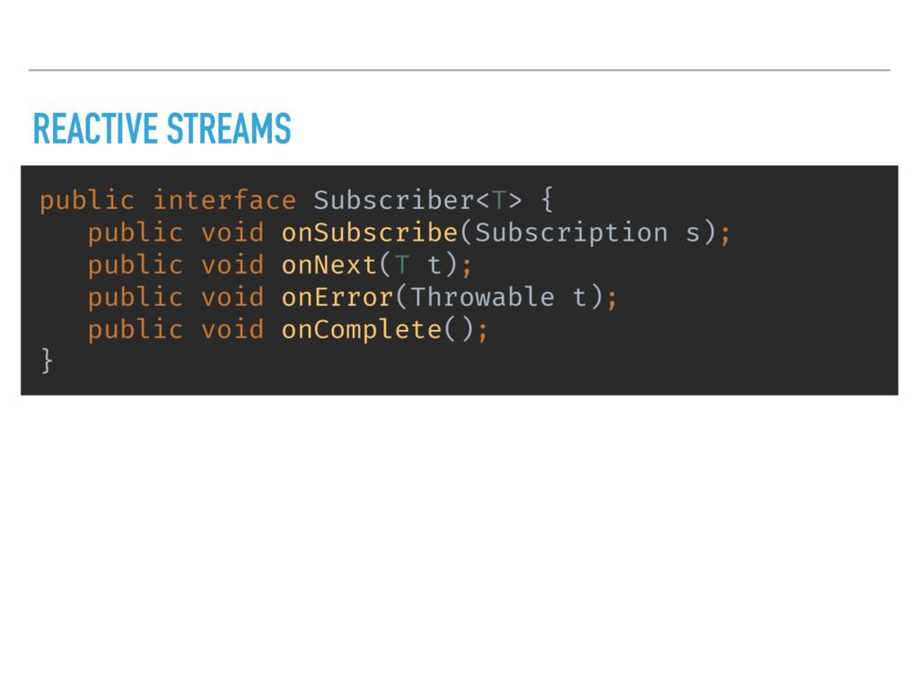 REACTIVE STREAMS public interface Subscriber<T>...