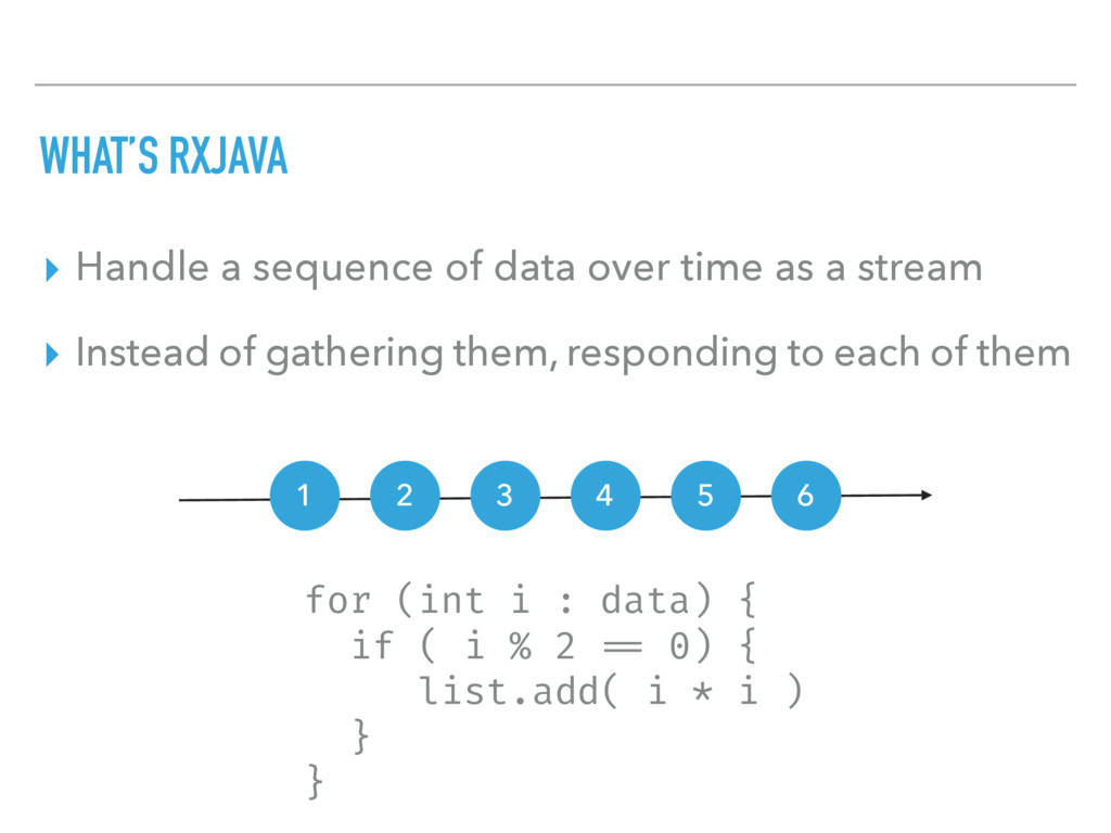 WHAT'S RXJAVA ▸ Handle a sequence of data over ...