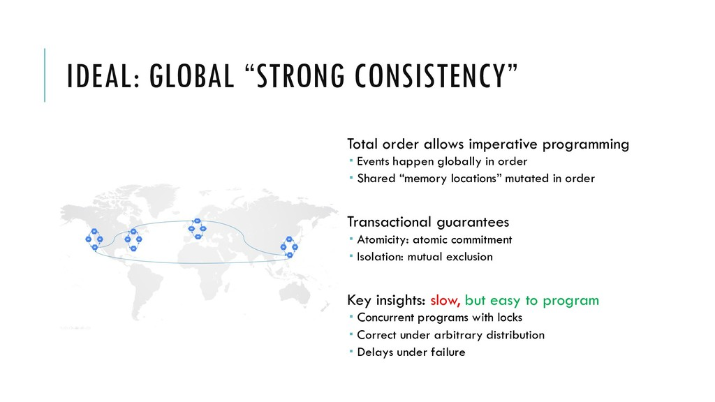 """IDEAL: GLOBAL """"STRONG CONSISTENCY"""" Total order ..."""