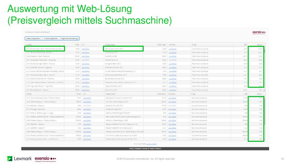 Auswertung mit Web-Lösung (Preisvergleich mitte...