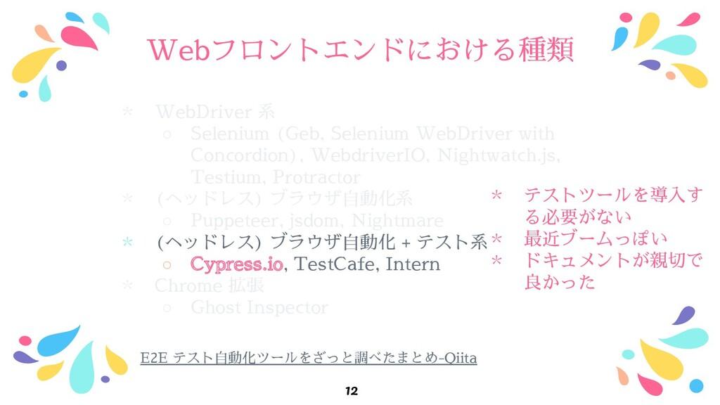 Webフロントエンドにおける種類 ﹡ WebDriver 系 ○ Selenium (Geb,...