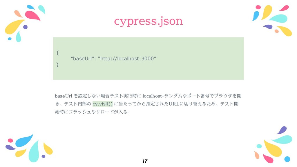 "cypress.json 17 { ""baseUrl"": ""http://localhost:..."